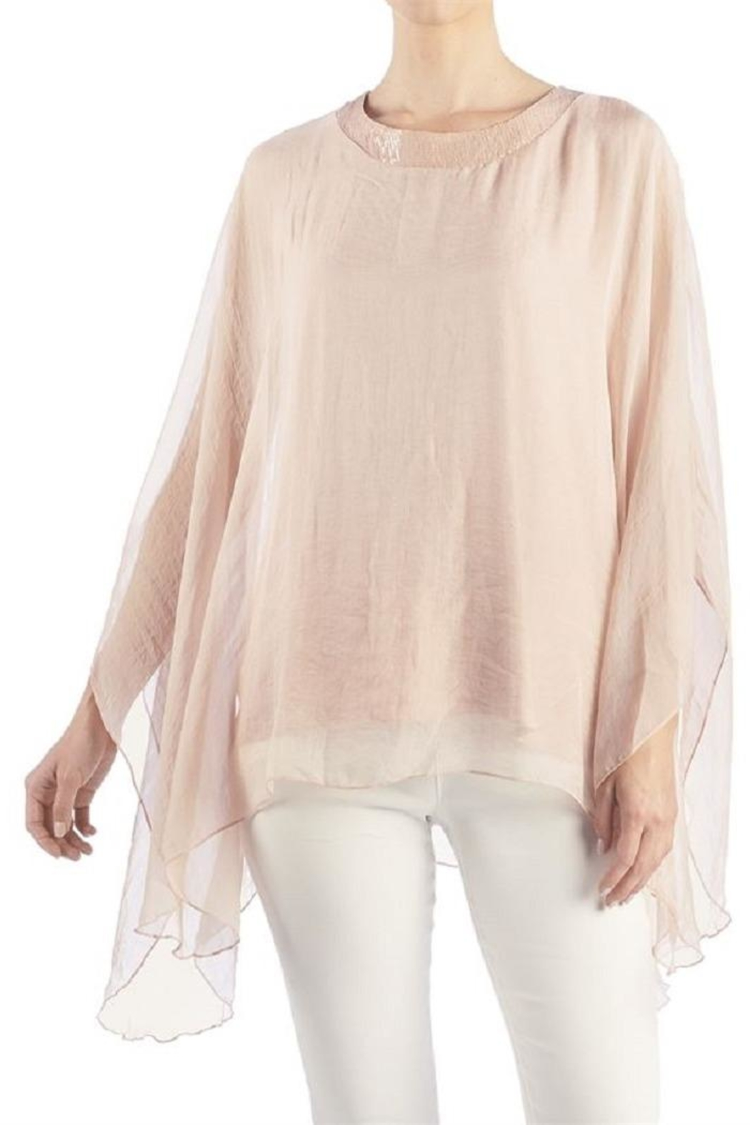 Coco + Carmen Sheer Elegance Crochet Detail Pullover - Front Cropped Image