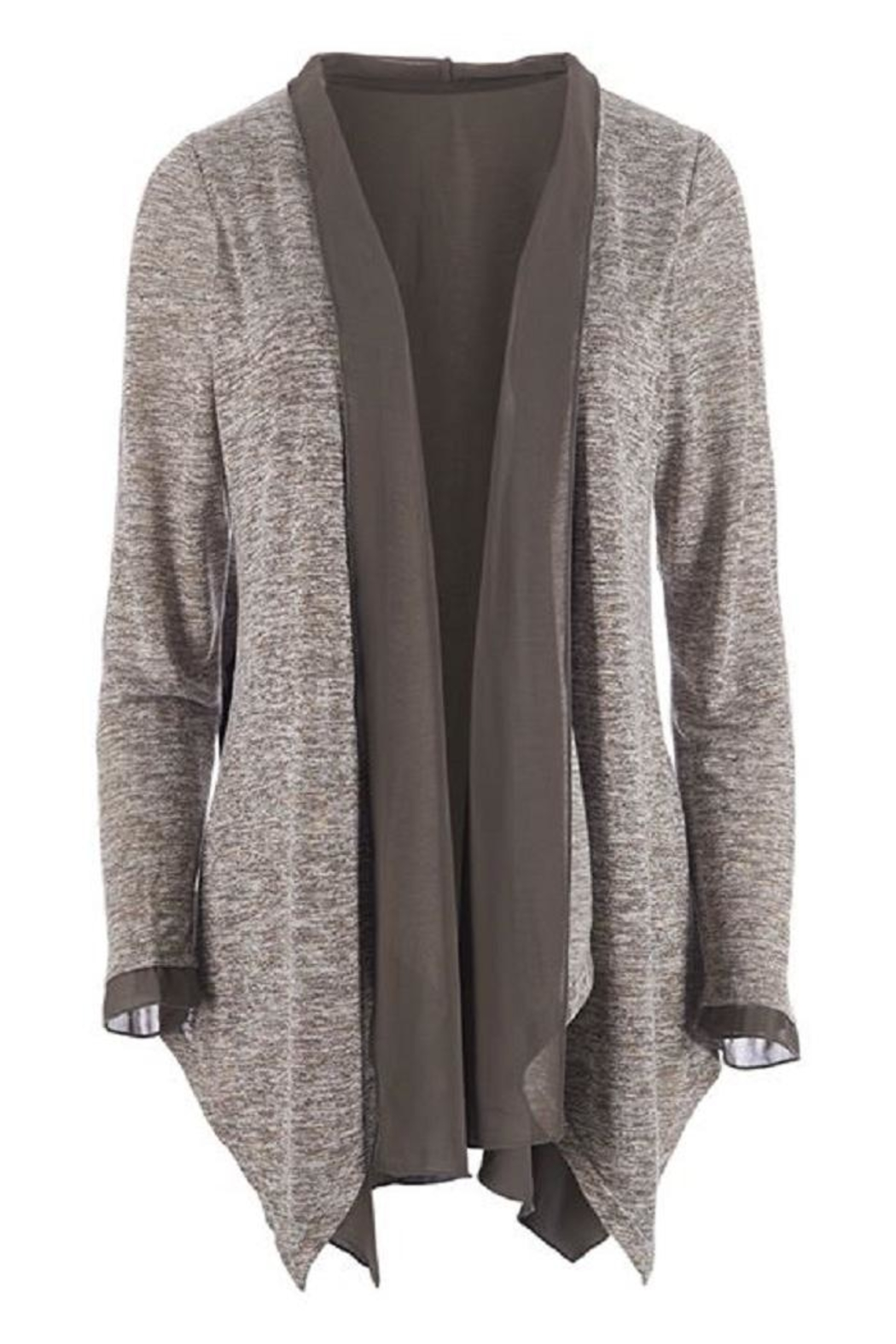 Coco + Carmen Sheer Trim Cardigan - Front Cropped Image