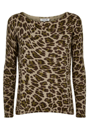 Cocoa Cashmere Animal Print Cashmere Sweater - Front full body