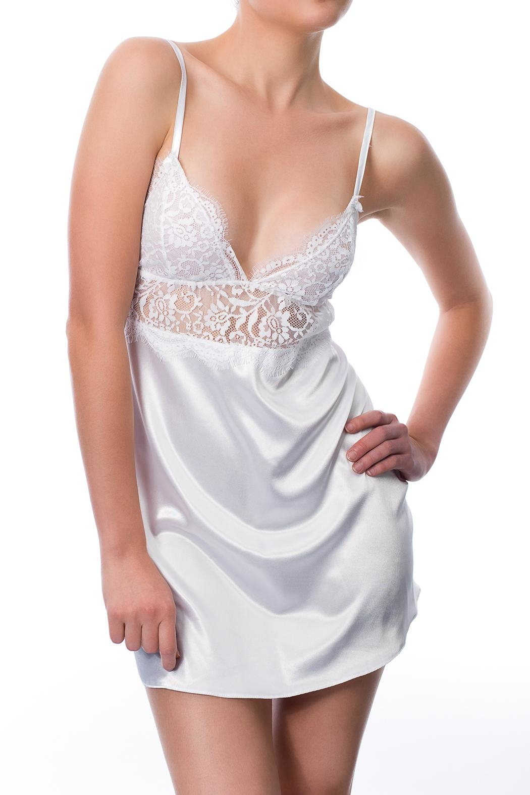 Cocoa Lingerie Satin Chemise Set - Front Cropped Image