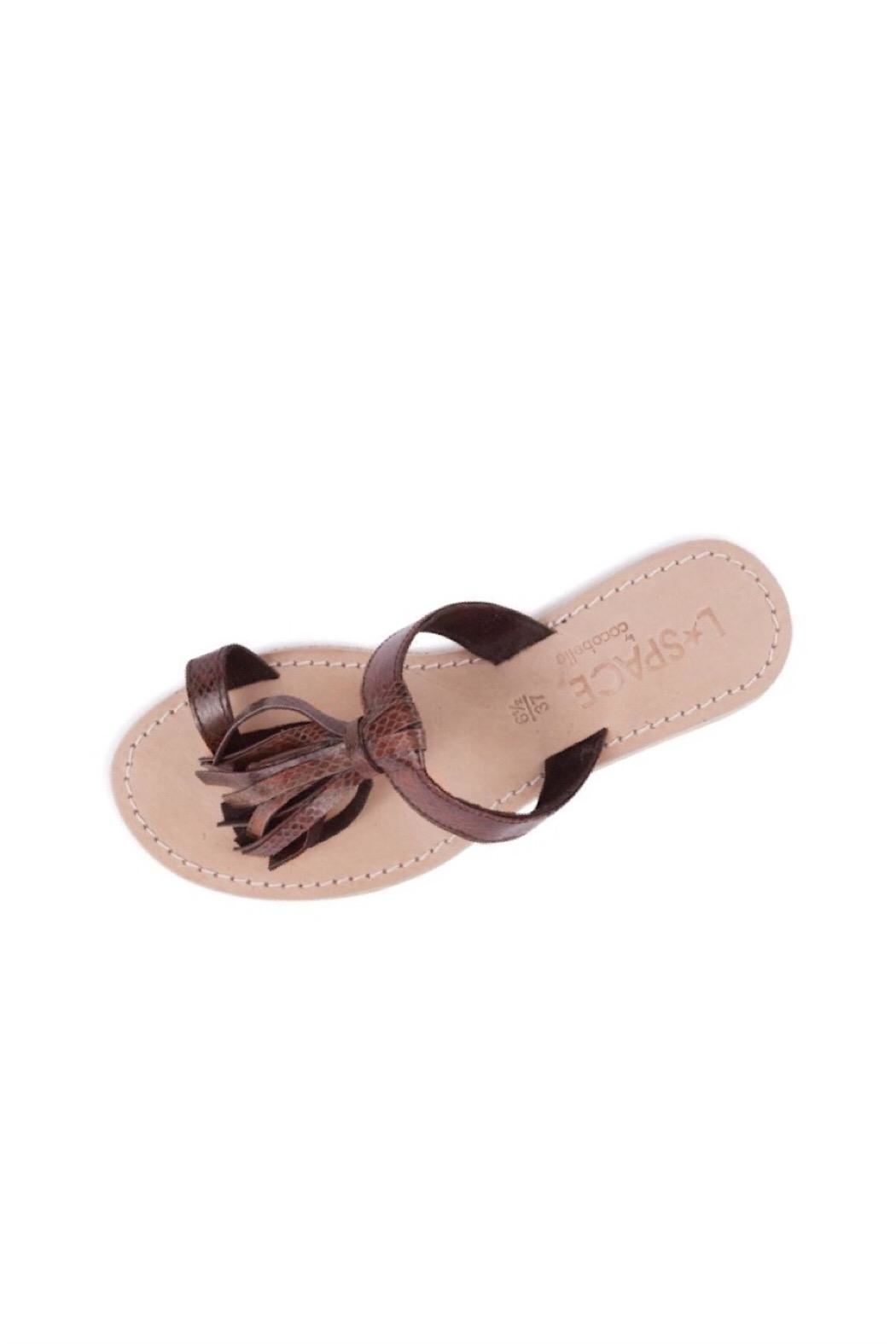 CocoBelle Leather Fringe Sandals - Main Image