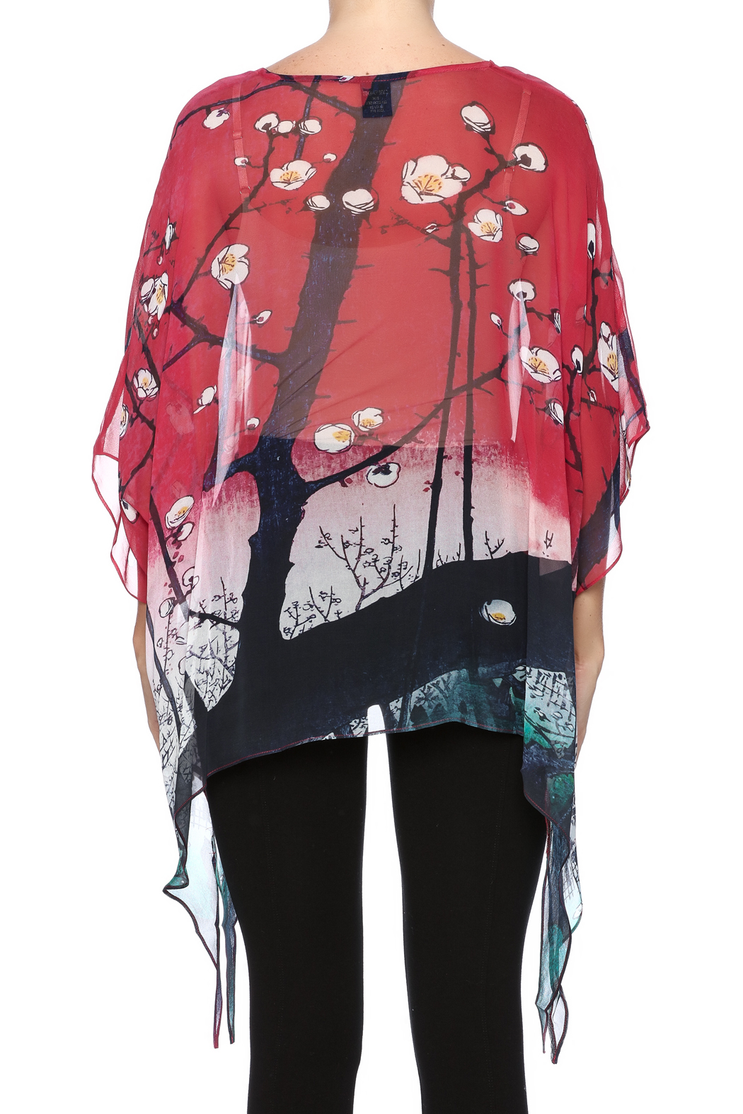 Cocoon House Cherry Blossom Silk Poncho - Back Cropped Image
