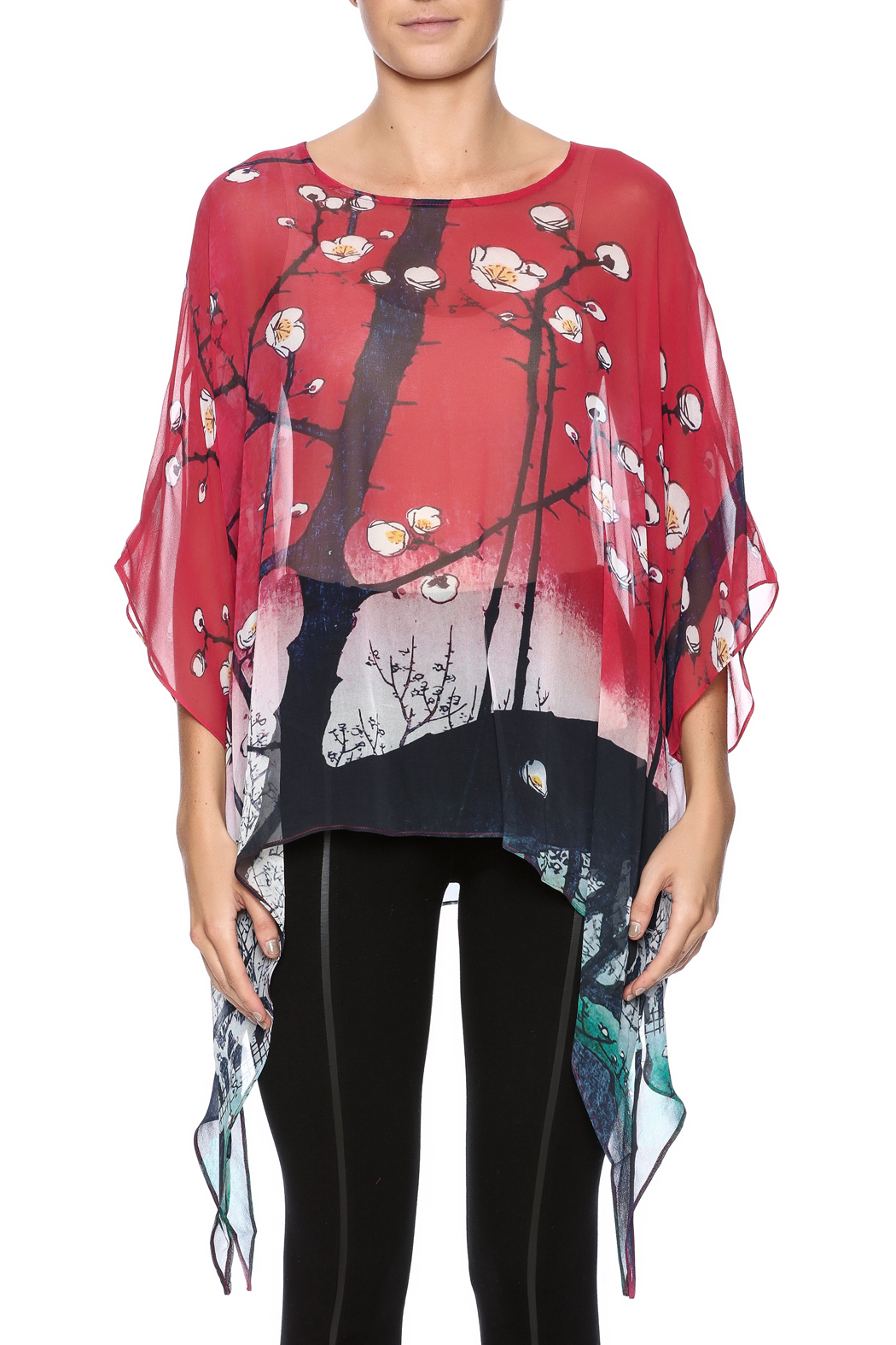 Cocoon House Cherry Blossom Silk Poncho - Side Cropped Image