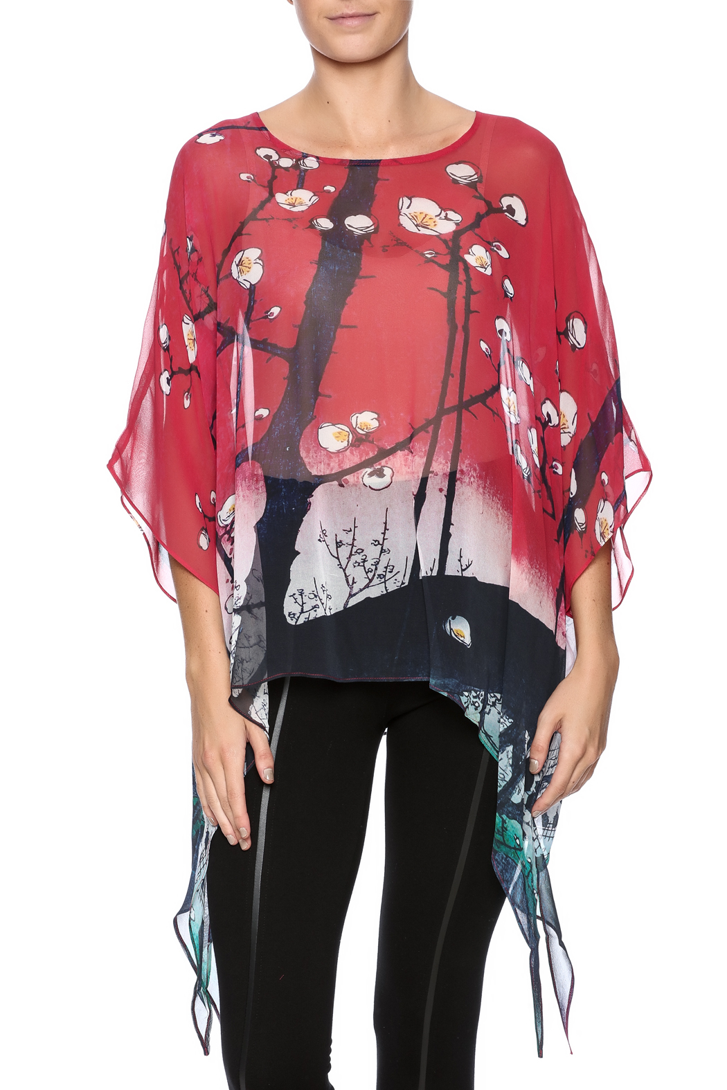 51e8d6680db930 Cocoon House Cherry Blossom Silk Poncho from Omaha by Souq Ltq