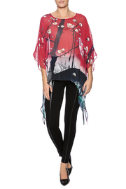 Cocoon House Cherry Blossom Silk Poncho - Front full body