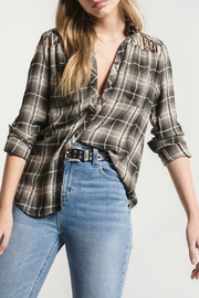White Crow Cody Cage Cutout Plaid Top - Product Mini Image