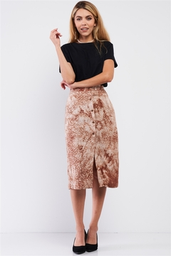 lelis Coffee Cream Tie Dye High Waisted Front Button Down Midi Skirt - Product List Image