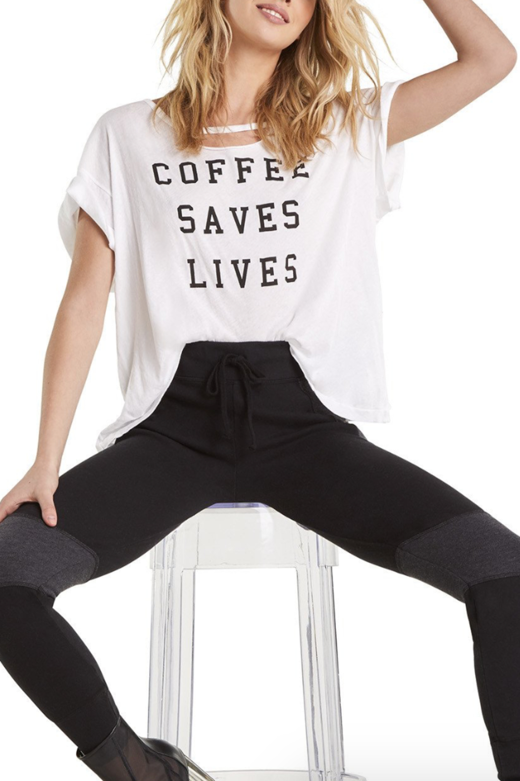Wildfox Coffee Saves Lives Rivo Tee - Front Cropped Image