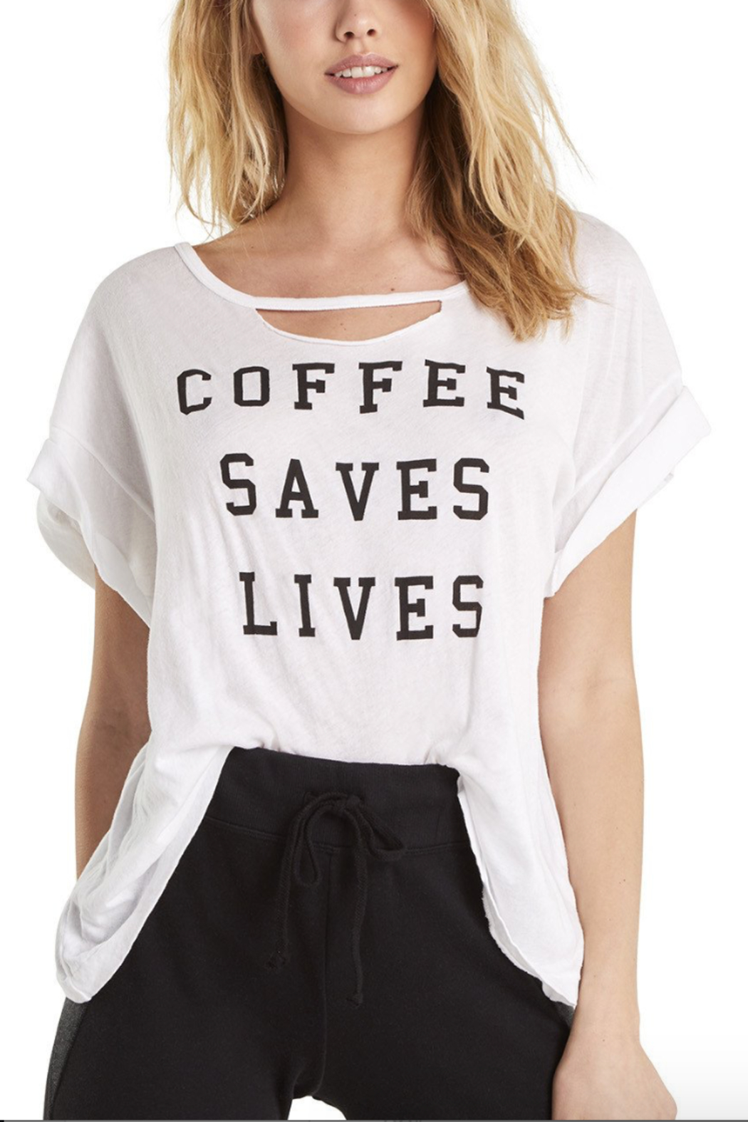 Wildfox Coffee Saves Lives Rivo Tee - Front Full Image