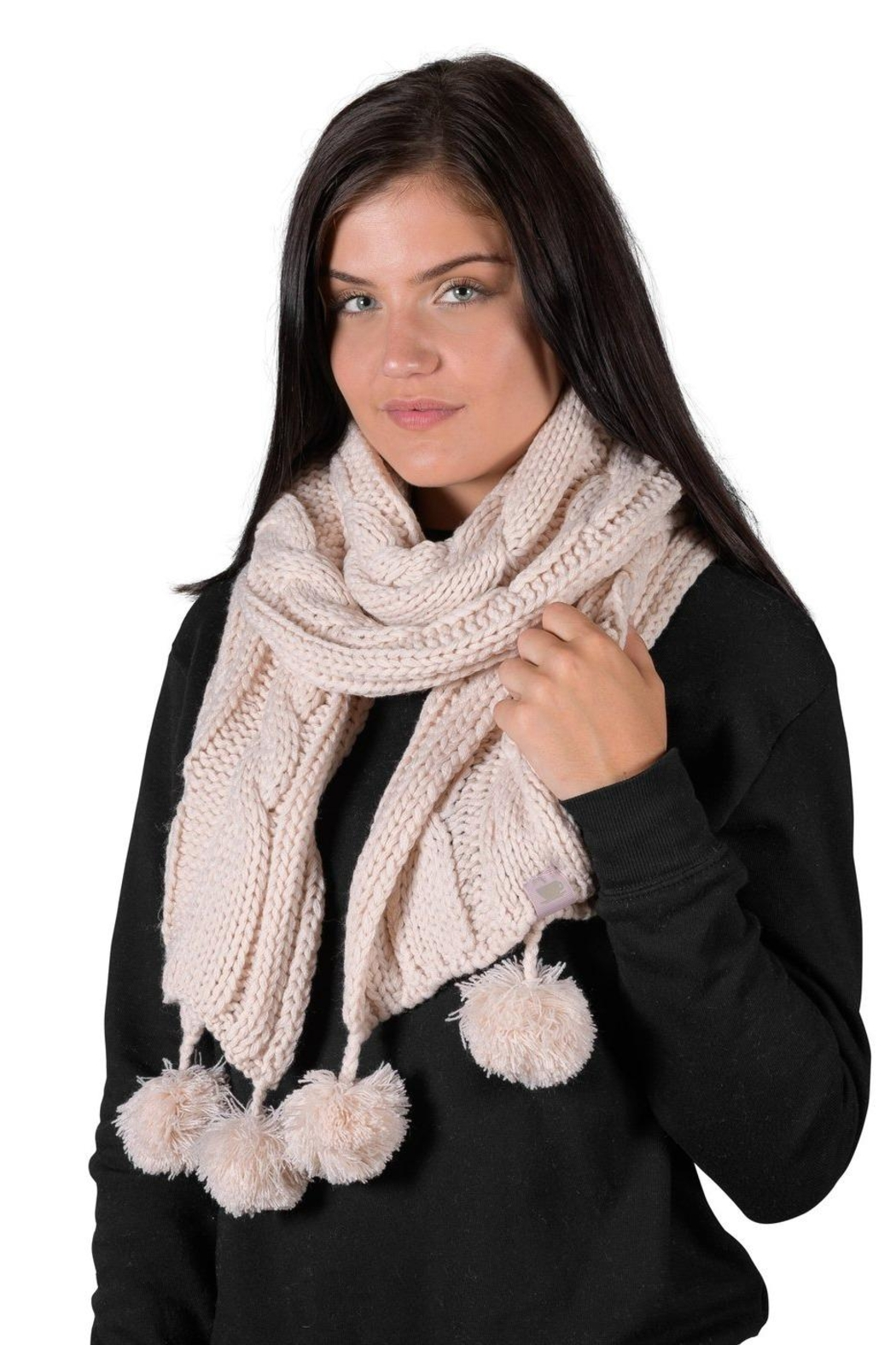 Coffeeshop Cable Knit Scarf - Front Cropped Image