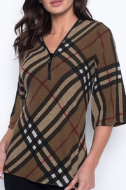 Frank Lyman Cognac Burberry Style Plaid Top with Zipper Neckline - Product Mini Image