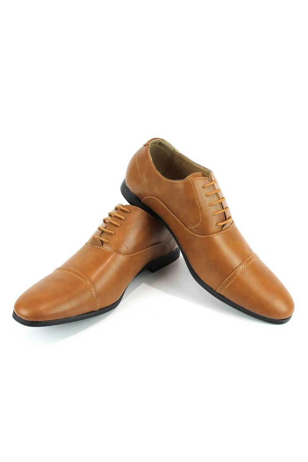 AZM Cognac Dotted Cap Toe Dress Shoes - Front Full Image