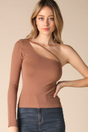Nikibiki Cognac One Shoulder Cut-Out Top - Product Mini Image