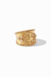 Julie Vos COIN CREST RING GOLD ZIRCON - SIZE 7 (ADJUSTABLE) - Product Mini Image