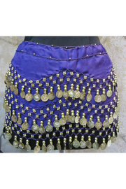 KIMBALS Coin Sash - Belly Dancing 3-Line Hip Scarf - Front cropped