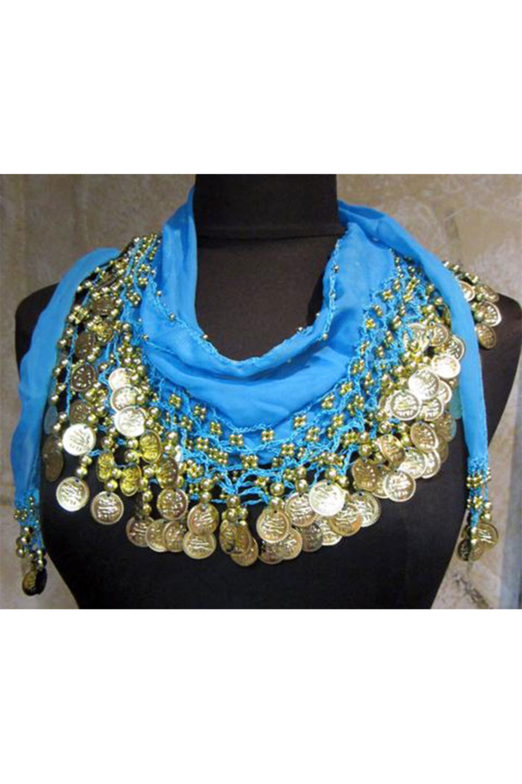 KIMBALS Coin Sash - Belly Dancing 3-Line Hip Scarf - Front Cropped Image