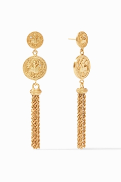Julie Vos COIN TASSEL EARRING-GOLD ZIRCON - Product List Image