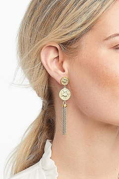 Julie Vos COIN TASSEL EARRING-GOLD ZIRCON - Alternate List Image