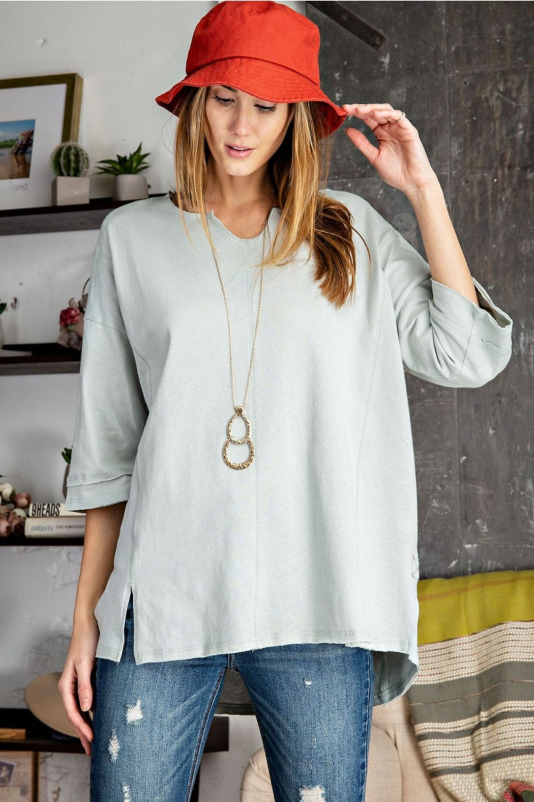 Easel  Cold Blue Cotton Top - Front Cropped Image