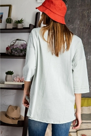 Easel  Cold Blue Cotton Top - Front full body