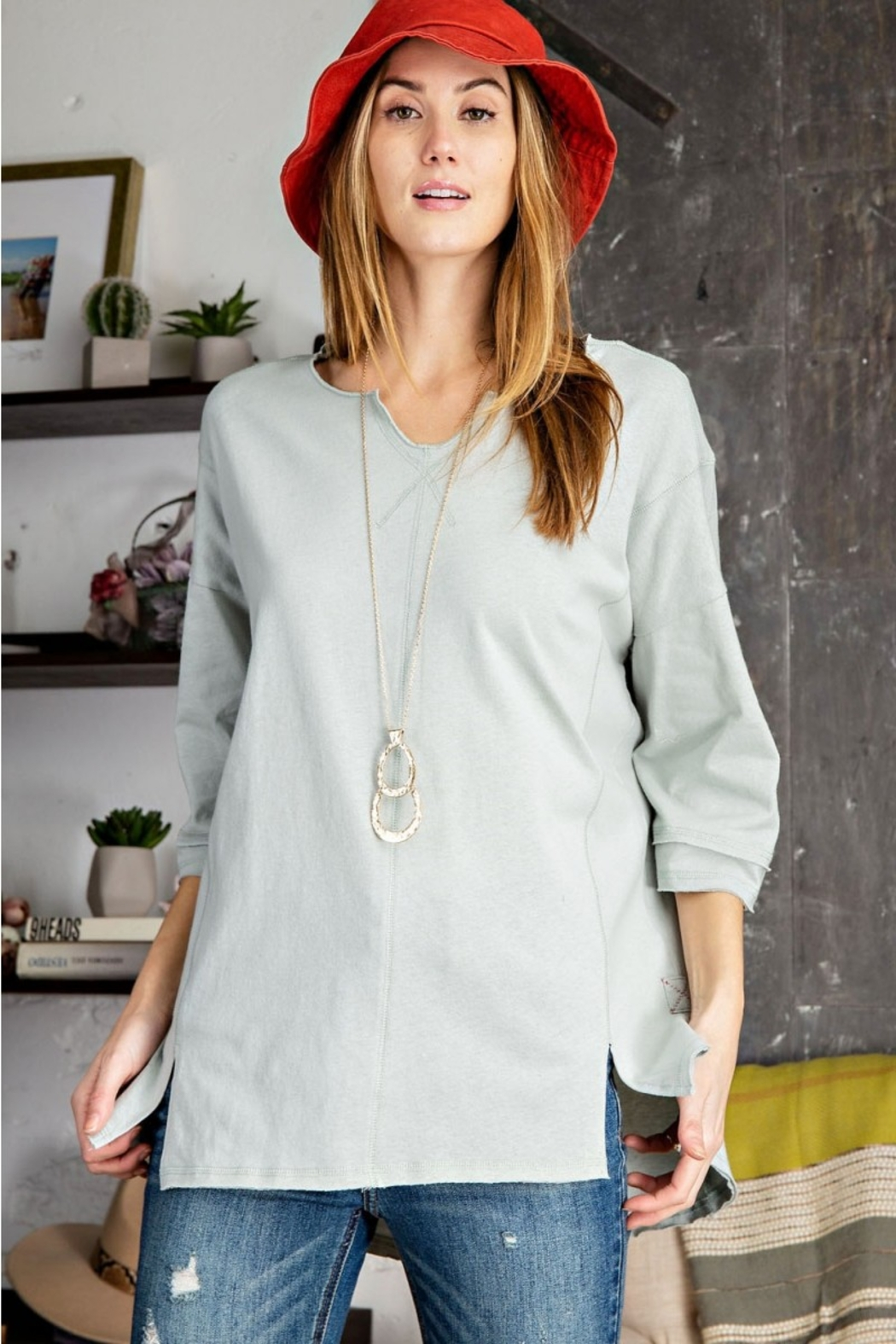 Easel  Cold Blue Cotton Top - Main Image