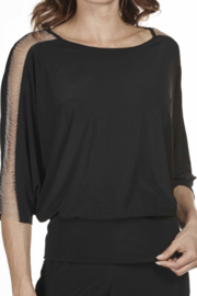 Frank Lyman Cold Shoulder Black Pullover Top - Front cropped