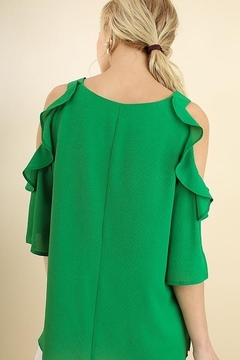 Umgee  Cold Shoulder Blouse with Ruffle Details - Alternate List Image