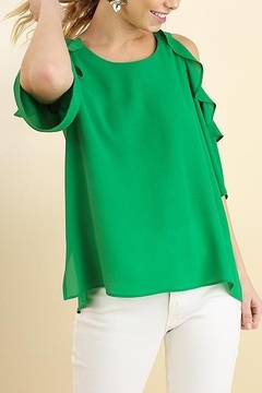 Umgee  Cold Shoulder Blouse with Ruffle Details - Product List Image