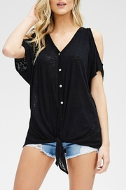 Cherish Cold-Shoulder Button Top - Front cropped