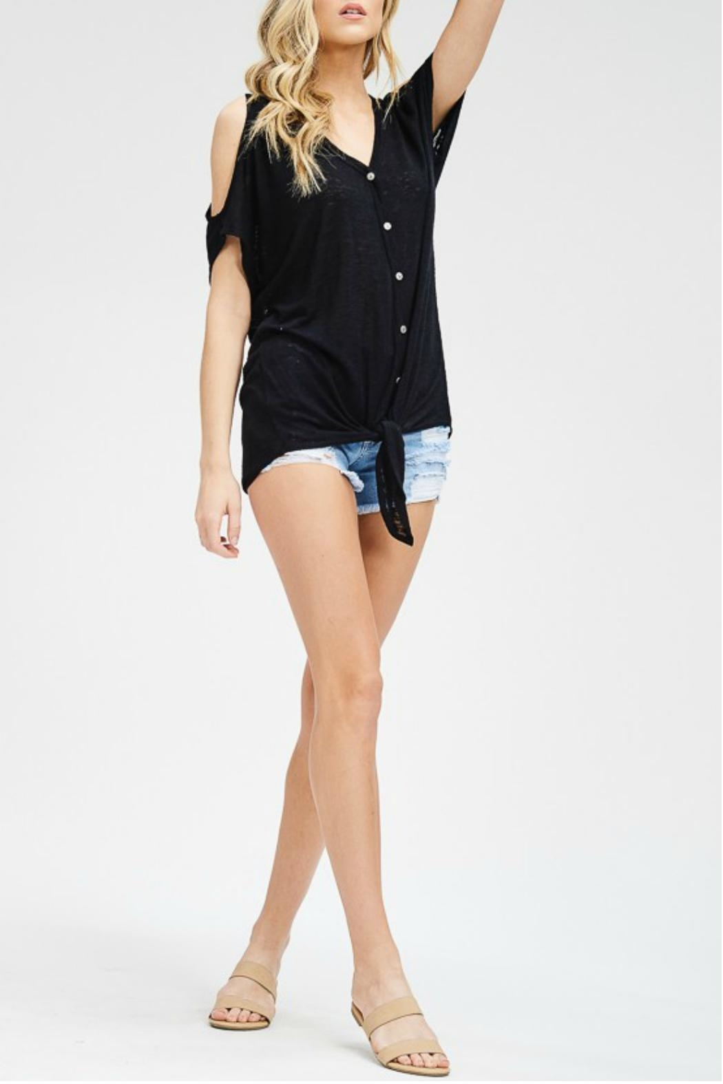 Cherish Cold-Shoulder Button Top - Front Full Image