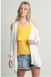 Skies Are Blue Cold Shoulder Cardigan - Front cropped