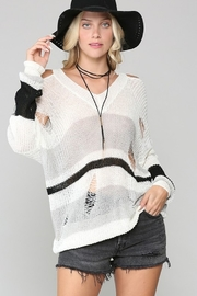 KyeMi Cold Shoulder Color Block Sweater - Product Mini Image