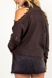 Olivaceous Cold-Shoulder Distressed Turtleneck - Front full body