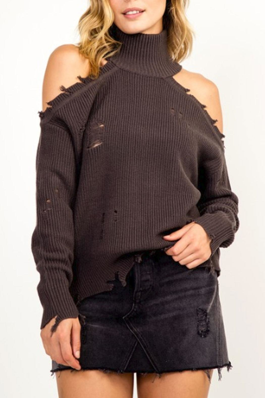 Olivaceous Cold-Shoulder Distressed Turtleneck - Main Image