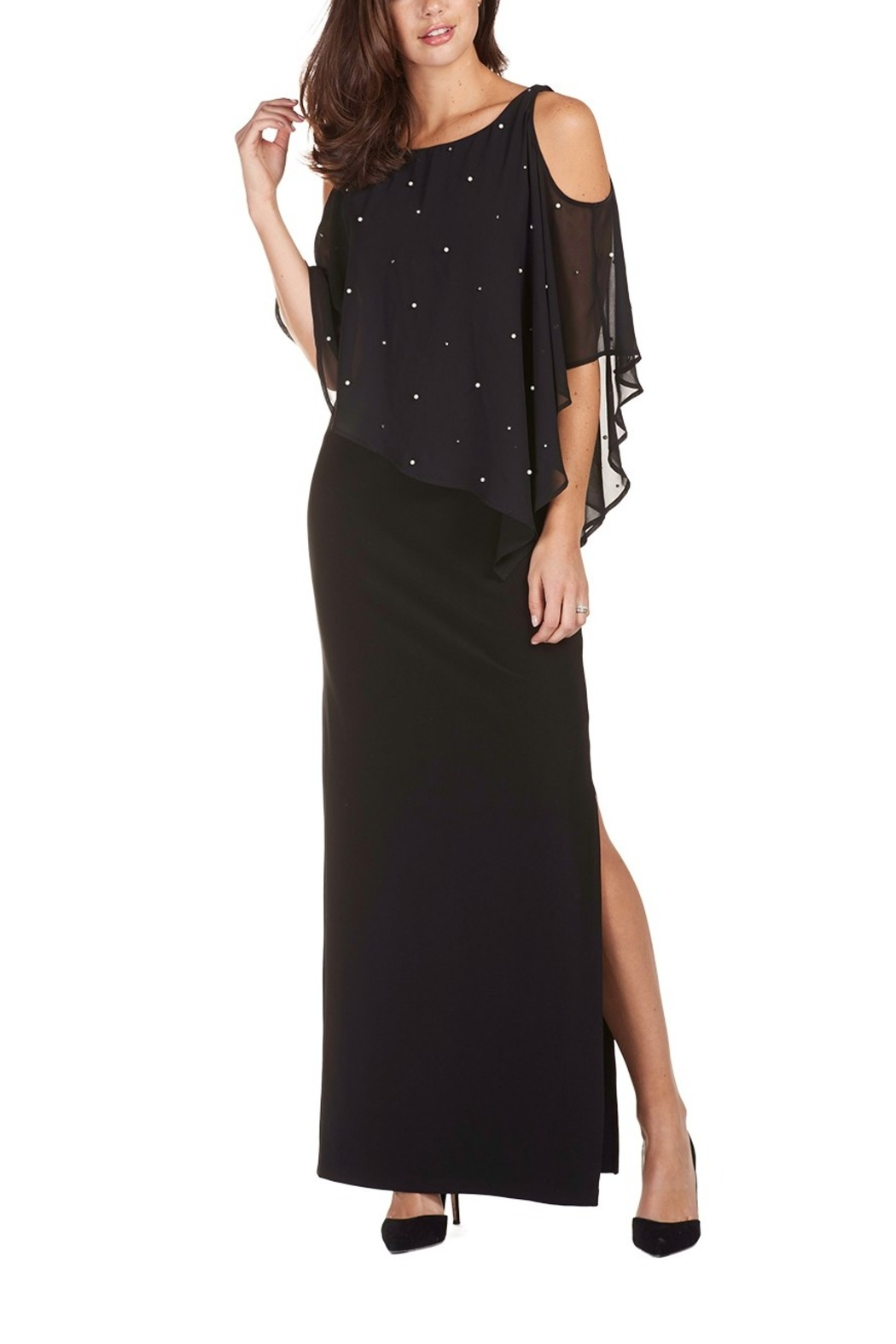 Frank Lyman Cold Shoulder Full Length Overlay Gown - Main Image