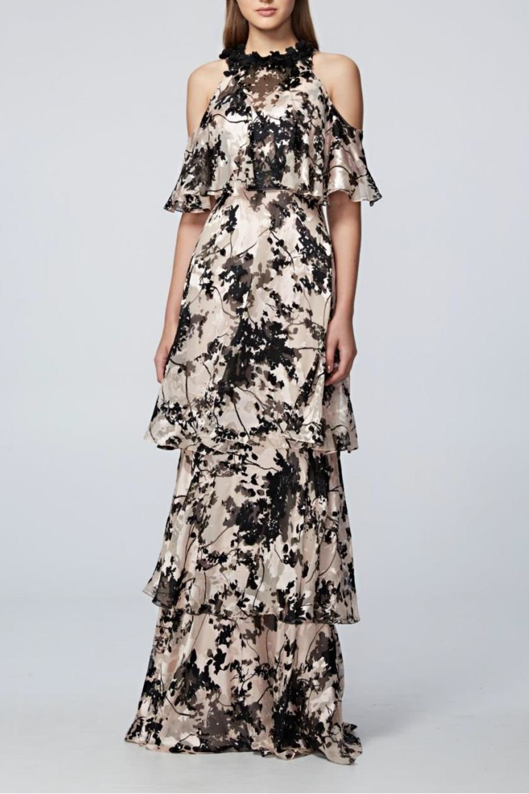 David Meister Cold Shoulder Gown - Front Cropped Image