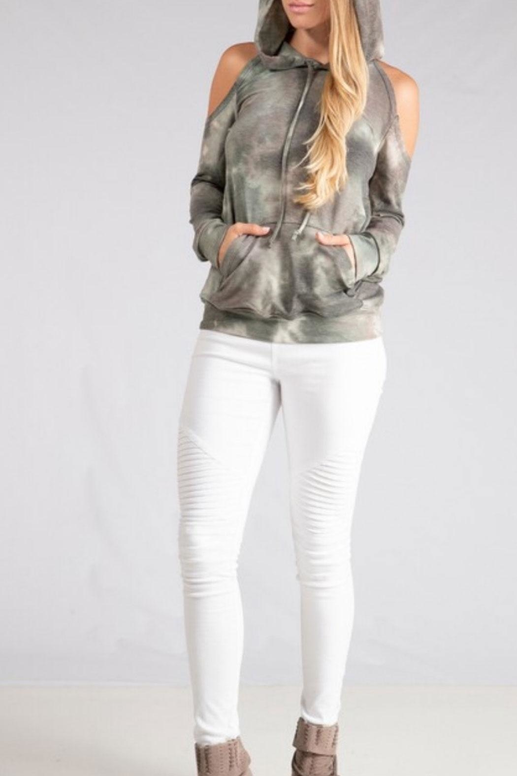 ENTI Cold Shoulder Hoodie - Front Full Image