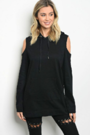 Very J  Cold Shoulder Hoodie - Product Mini Image
