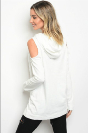 Very J  Cold Shoulder Hoodie - Front full body