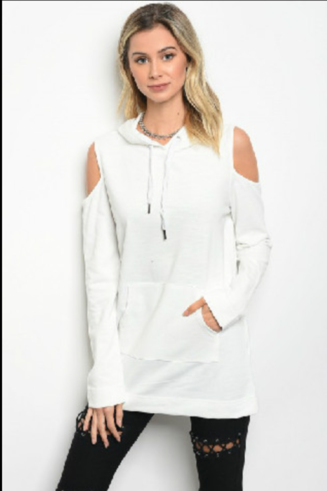 Very J  Cold Shoulder Hoodie - Front Cropped Image