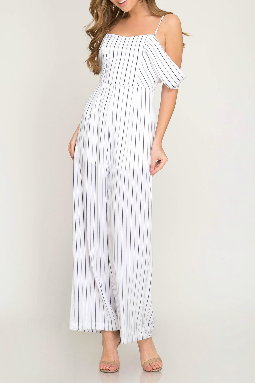825ff9e6aeb6 She + Sky Cold Shoulder Jumpsuit from Massachusetts by Moxy Boutique ...