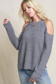 POL Cold Shoulder Knit Sweater - Front full body