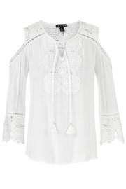 Tribal Cold-Shoulder Lace Blouse - Product Mini Image