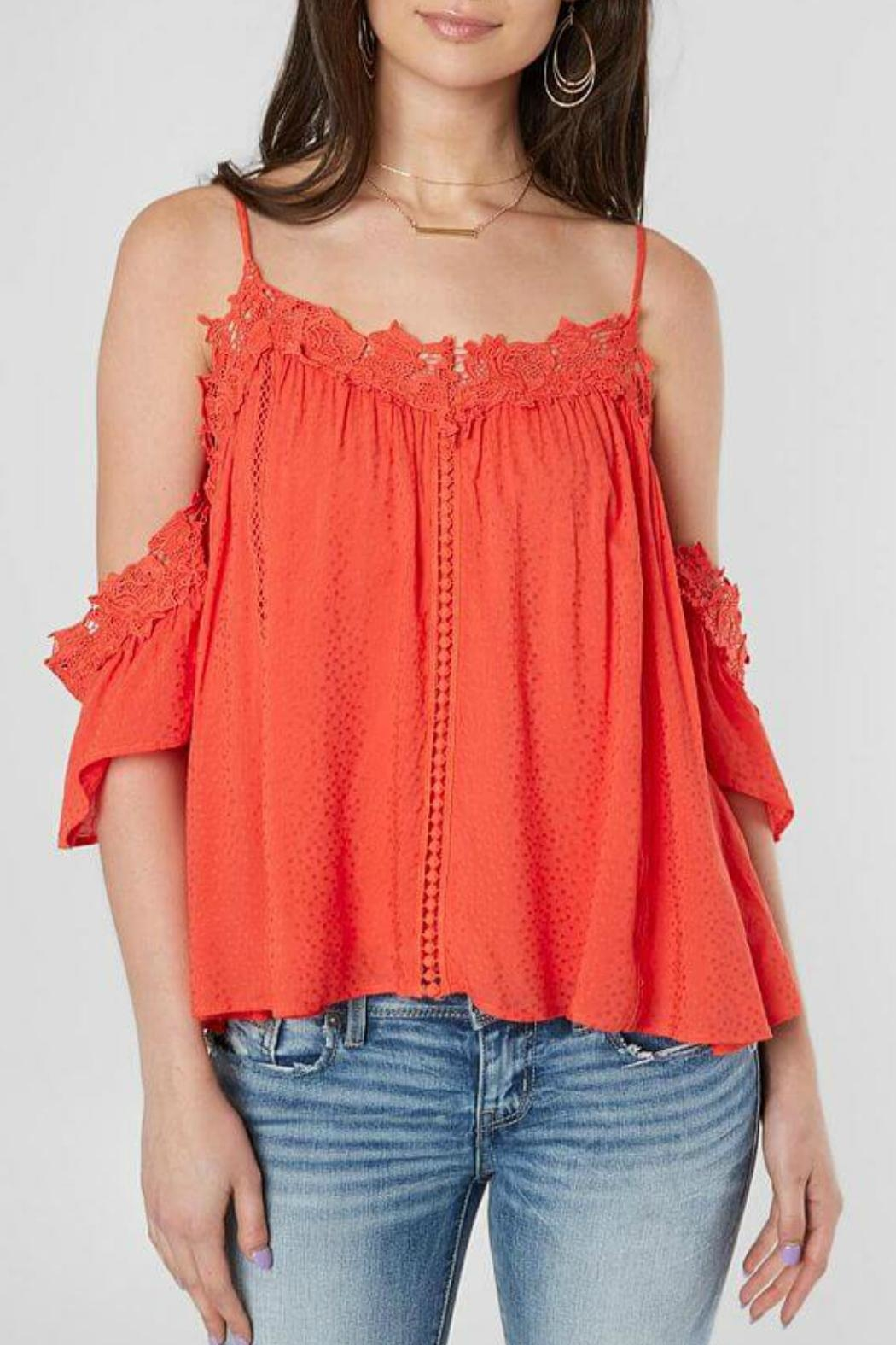 7a9b18091611bb Miss Me Cold-Shoulder Lace-Trim Top from Alaska by Apricot Lane ...