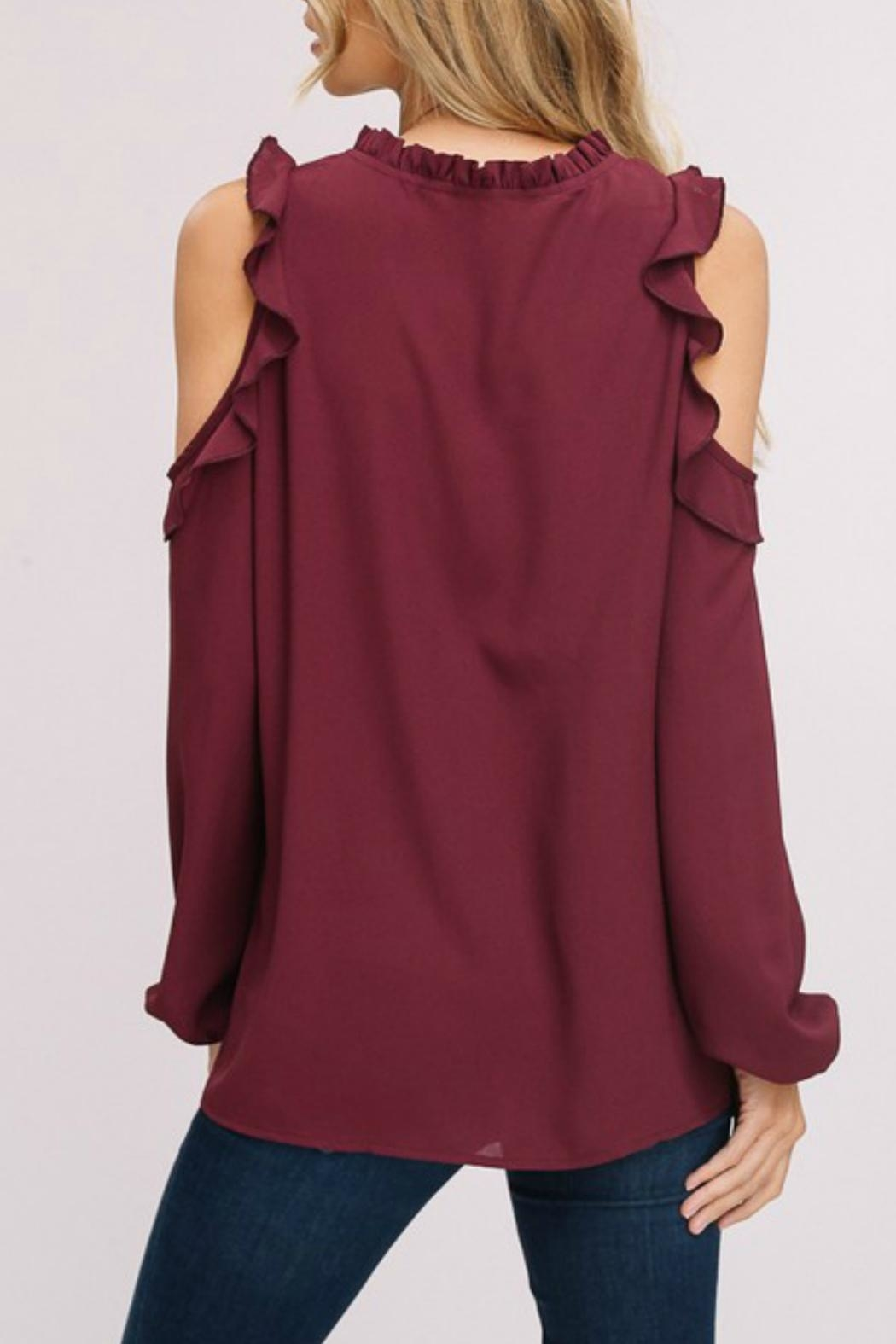 Listicle Cold-Shoulder Peasant Top - Front Full Image