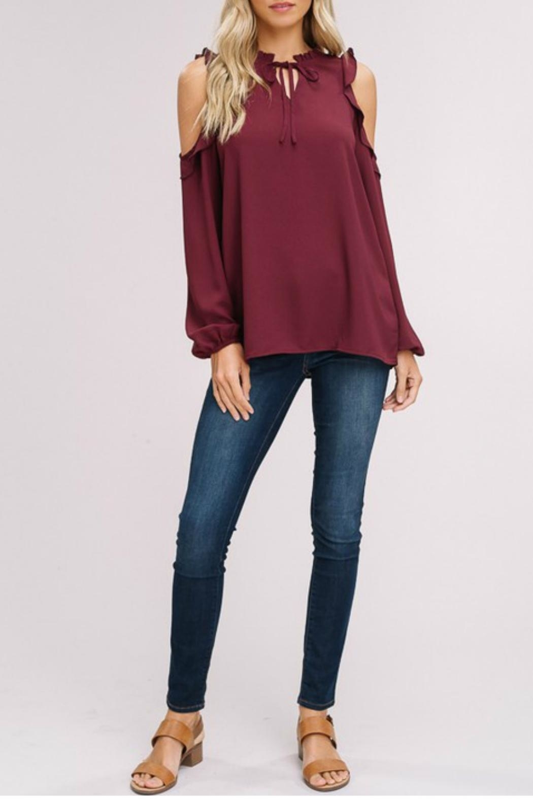 Listicle Cold-Shoulder Peasant Top - Front Cropped Image
