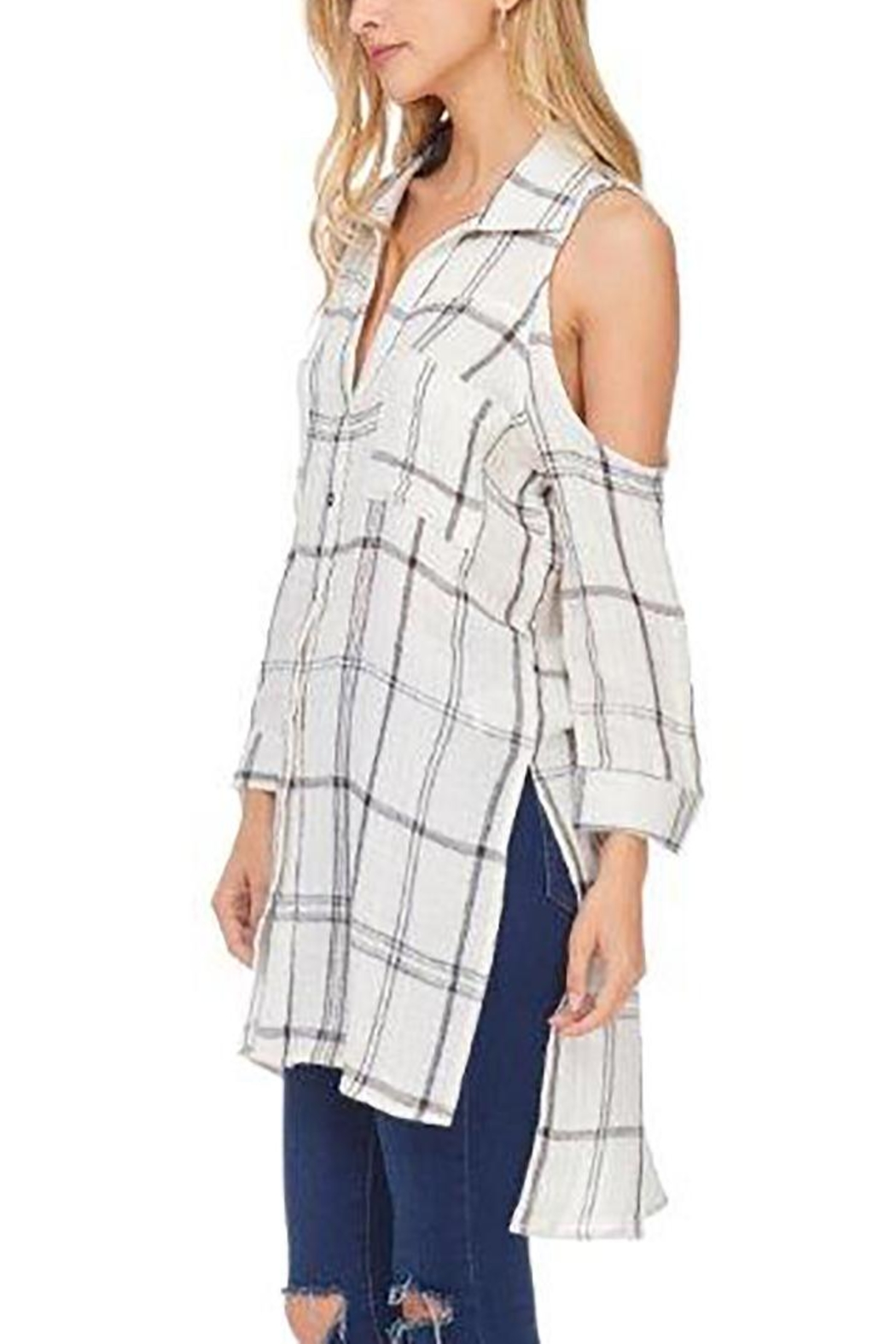 Anama Cold-Shoulder Plaid Blouse - Front Full Image