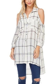 Anama Cold-Shoulder Plaid Blouse - Side cropped