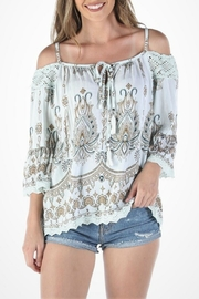 Angie Cold-Shoulder Printed Top - Product Mini Image