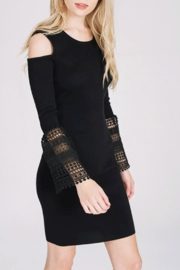 Main Strip Cold Shoulder Rib-Dress - Product Mini Image